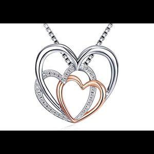 Jewelry - Sterling Silver Triple Heart Drop Necklace